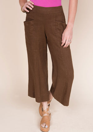 Cropped and Flare Linen Pant