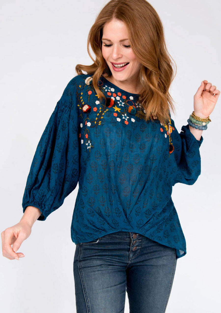 Blouson Embroidered Top