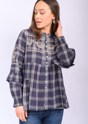 Deer in Motion Plaid Top