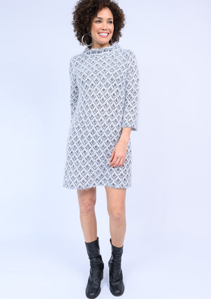 Diamond Fuzzy Knit Dress