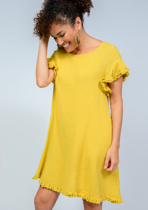 Gauzee Ruffle Trim Dress MUSTARD