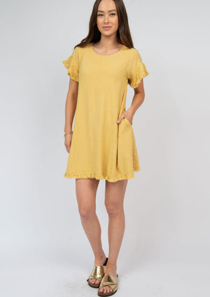 Linen Blend Ruffle Sleeve Dress