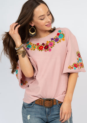 Flutter Sleeve French Terry Mexican Emb Top