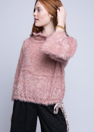 Drawstring Fuzzy Mock Neck