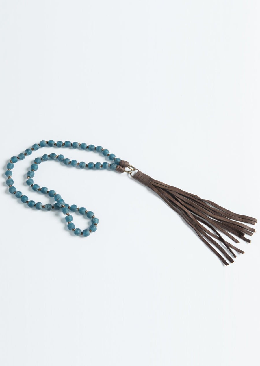 Knotted African Glass Beads w/Tassel Necklace
