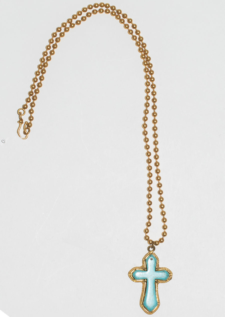 Gold Bead and Turquoise Necklace