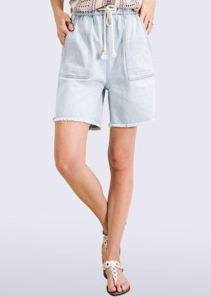 washed cargo style denim shorts WDM