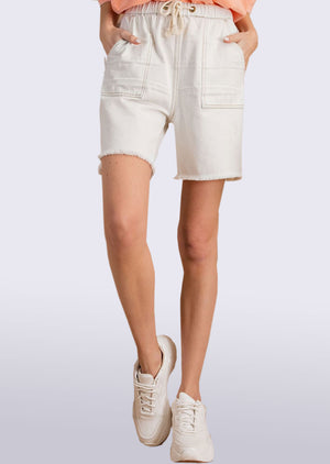 washed cargo style denim shorts WHT