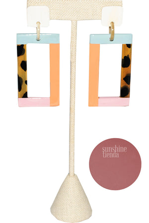 Color Block Rectangle Earring