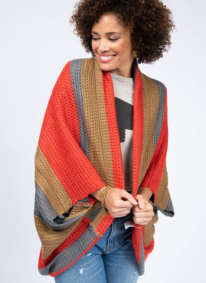 Batwing Color Block Poncho