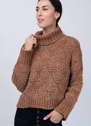 Chenille Patterned Turtleneck