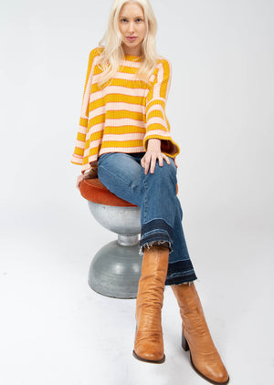 Stripe Bell Sleeve Sweater