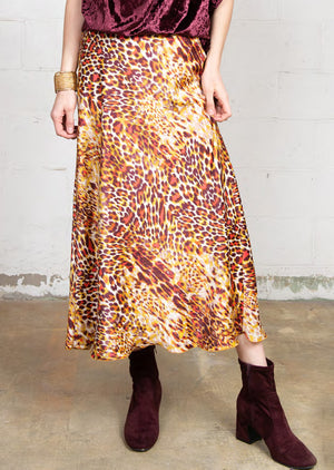 Exotic Leopard Satin Skirt