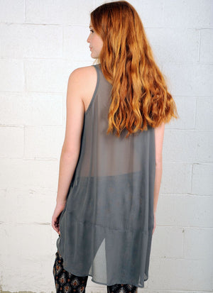 Sleeveless Tunic R6023 charcoal