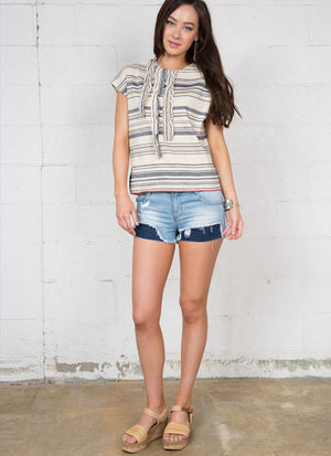Striped Top R6194 natural/blue
