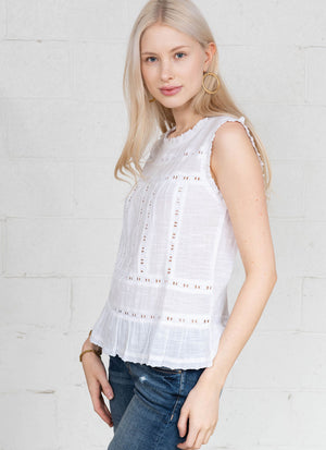 Lace Trimmed Top R6329 WHT