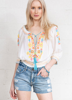 """Pleasant"" Peasant Top R6340 MUL"