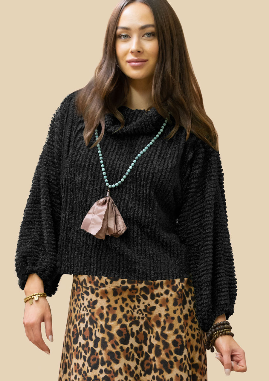 Fuzzy Sweater R6355 BLK