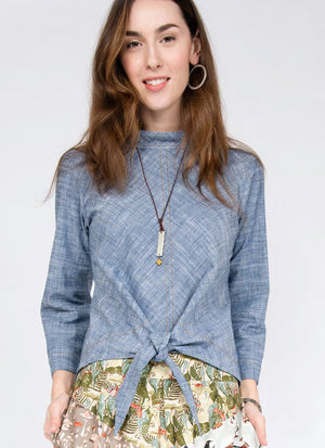 Chambray Tie Waist Top