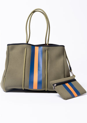 Rugby Striped Neoprene Tote