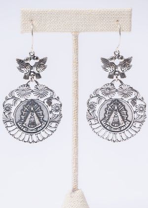 Mary Crest & Dove Earring