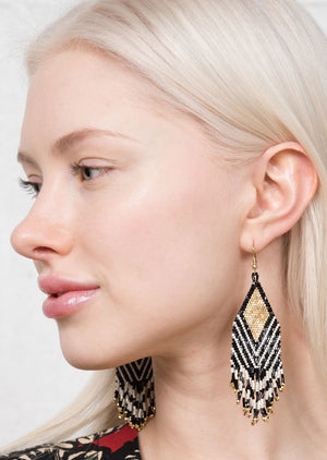 LUX BEADED EARRING   BLACK IVORY STRIPE