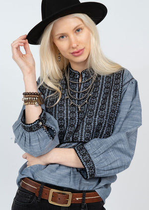 Chambray Peasant Popover w EMB