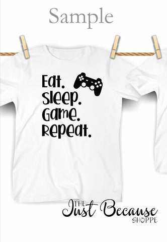 SVG Eat Sleep Game Repeat, Gamer Humor, Man Cave SVG File