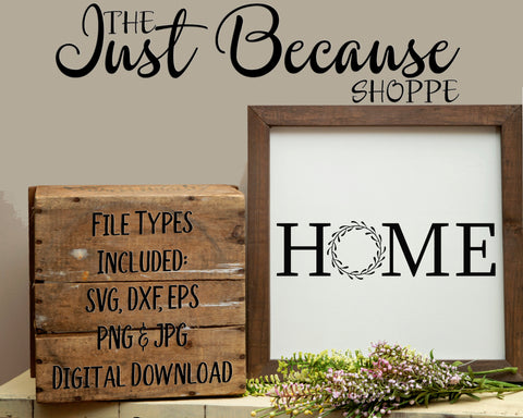 SVG Home with Wreath, Farmhouse Style SVG File