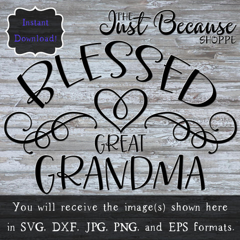 SVG Blessed Great Grandma, Family SVG File