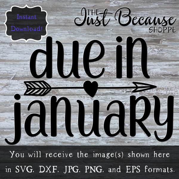 SVG Due In January Month Svg Pregnancy Svg Baby Svg Pregnancy Announcement Reveal Baby Shower Svg New Mom Expecting Shirt Decal