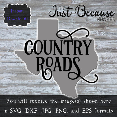 SVG Texas - Country Roads, TX SVG File