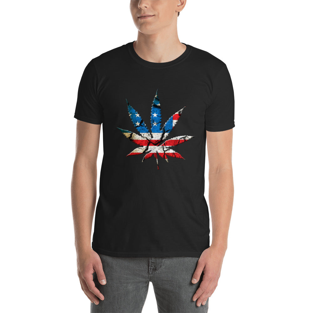 Pot Leaf US Flag T-Shirt, Black Unisex Cannabis Leaf Shirt