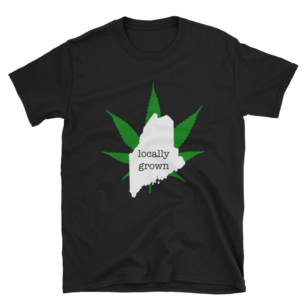Maine Locally Grown Pot Leaf T-Shirt, Black Unisex Shirt, Cannabis leaf