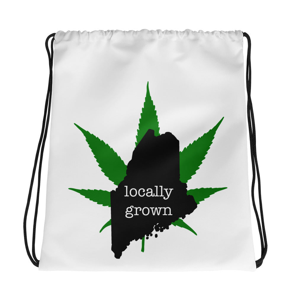 Locally Grown Maine Pot Leaf Bag, Drawstring Bag, Cannabis Leaf