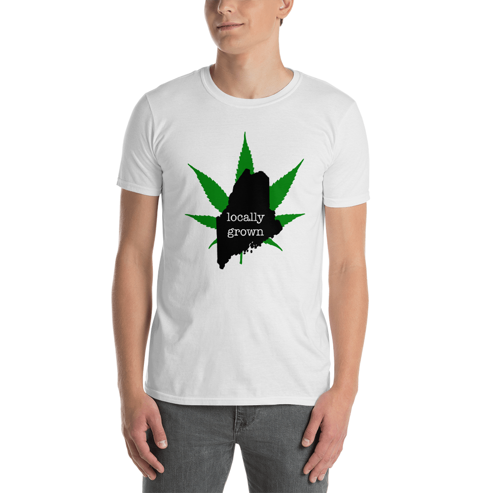 Maine Locally Grown Pot Leaf T-Shirt, White Unisex Shirt, Cannabis leaf