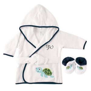 Personalized Plush Baby Bathrobe With Slippers - TURTLE