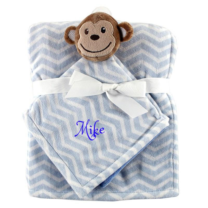 Personalized Animal Blanket & security blanket Set For Baby - Blue Monkey
