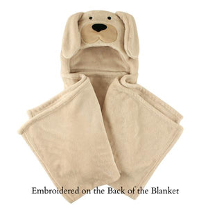 Personalized Name Dog Hooded Blanket For Baby - Beige