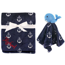 Personalized Animal Blanket & security blanket Set For Baby - Blue WHALE