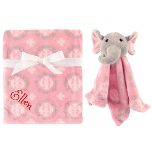 Personalized Animal Blanket & security blanket Set For Baby - Pink Elephant