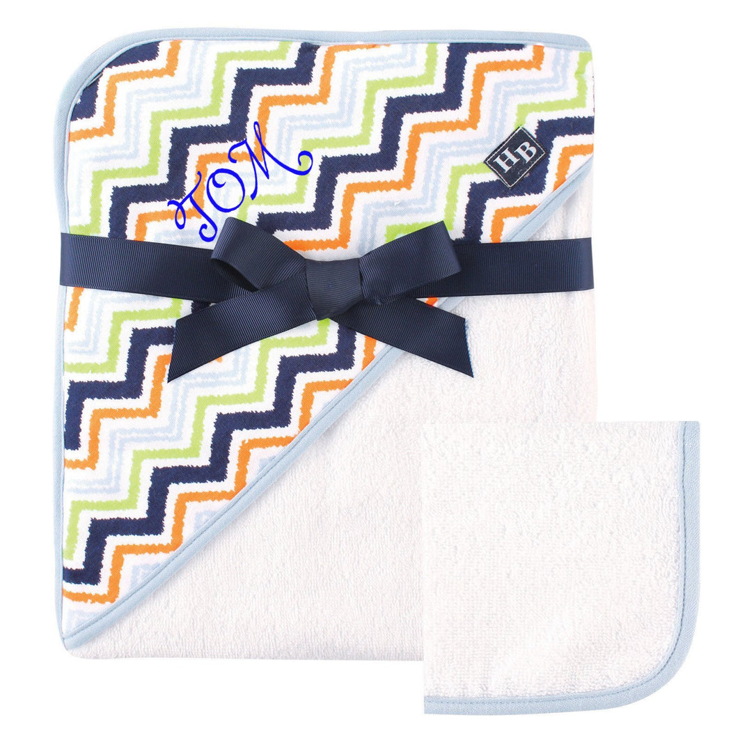 Personalized Hooded Baby Towel and Washcloth Set- CHEVRON