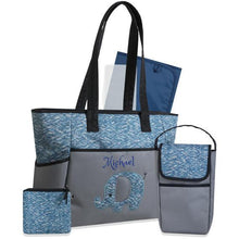Personalized  5 in 1 Diaper Bag set - Blue Elephant Changing Pad & Cosmetic Purse Included
