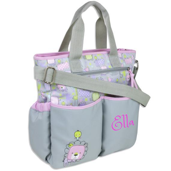 Personalized 3 in 1 Diaper Bag set - Pink LION Changing Pad & Cosmetic Purse Included
