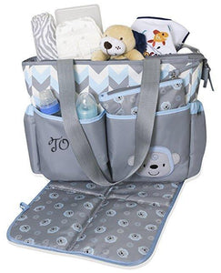 Personalized 3 in 1 Diaper Bag set -Blue Monkey Changing Pad & Cosmetic Purse Included