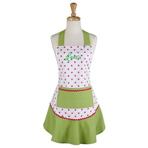 Personalized Pink & Green Polka Dot Ruffle Apron