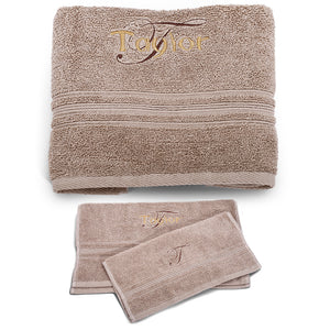 Personalized Beige bath SET / premium Quality 100% Cotton