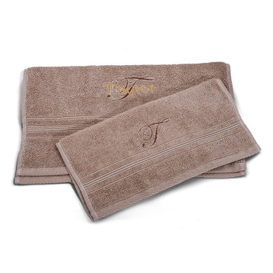 Personalized Beige Hand towel and Washcloth/Premium Quality 100% Cotton