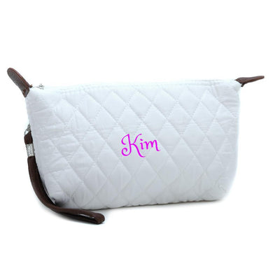 Personalized Quilted Clutch | Makeup Bag w/ Detachable Wrist
