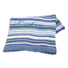 Personalized Cotton knit stripe blanket - Blue